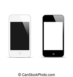 smartphones, pantalla, moderno, blanco