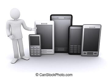 smartphones, rörlig telefonerar, anbud, lott, man