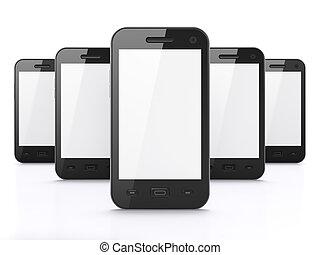 smartphones, render, רקע, שחור, לבן, 3d