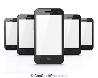 smartphones, render, bakgrund, svart, vit, 3