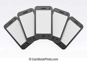 smartphones, render, fond, noir, blanc, 3d
