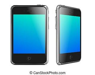 smartphones,  render, fondo, nero, bianco,  3D