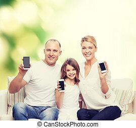 smartphones, rodzina, szczęśliwy