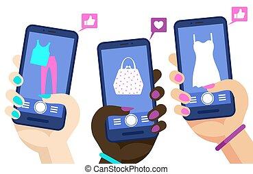 smartphones, shoppen, medien, concept., hände, marketig, abbildung, telefon, vektor, besitz, online, seiten, sozial