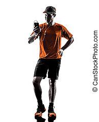 smartphones, silhouette, läufer, kopfhörer, jogger, mann
