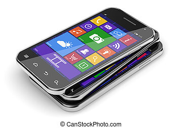 smartphones, stapel
