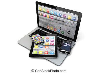 smartphones, tavoletta, laptop