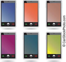 smartphones., touchscreen, résumé, ensemble