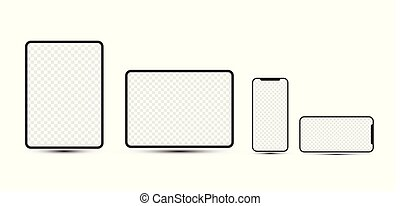 smartphones, transparent, checkered, vide, tablettes, devices:, screens., simple, mobile