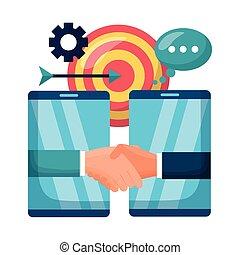 smartphones, trato de la corporación mercantil, personas,...