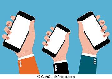 smartphones, vektor, halten hände