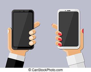 smartphones., vettore, illustration., tenere mani