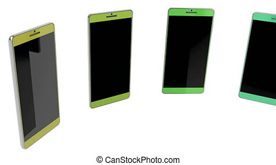 Smartphones with different colors, rotates on white...