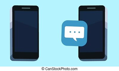 smartphones with menu applications animation