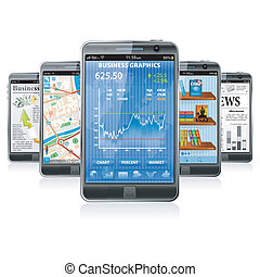 Smartphones with various Applications - Collect Smartphones...