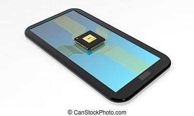 smartphone/tablet, com, cpu, lasca, ligado, tela, isolado, branco, fundo