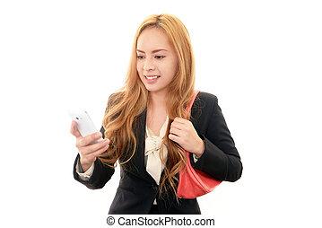 Smartphone%u3000and woman