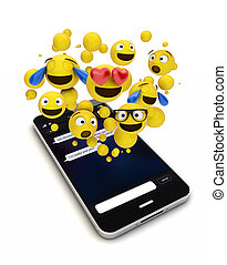 smartphonewith emojis out of screen isolated