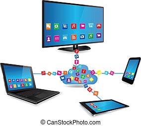SmartTv Laptop Tablet Smartphone and Apps - Cloud computing...