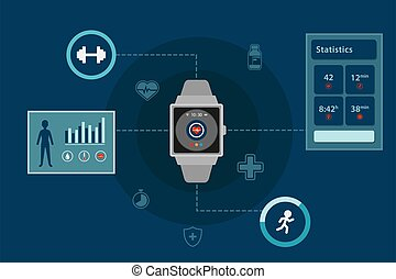 smartwatch, ベクトル, デザイン, infographic