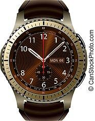 smartwatch, 隔離された, 腕時計