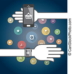 Smartwatch and Smart phone with colorful Ecommerce Icons