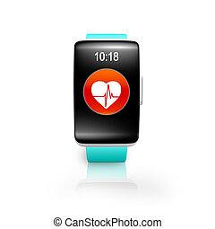 smartwatch, brillante, curvo, salud, watchband, verde, pantalla, rojo