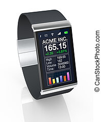 smartwatch - close up view of a smart watch with a financial...