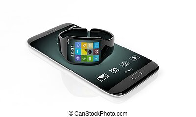 smartwatch, com, apps, ligado, tela, e, smartphone, isolado, branco, experiência.