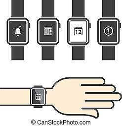 smartwatch, con, icone