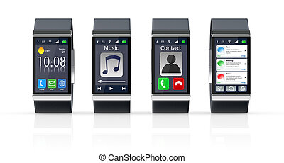 four smart watch with different apps (3d render)