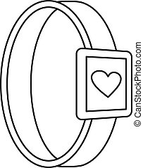 Smartwatch heart monitor icon, outline style