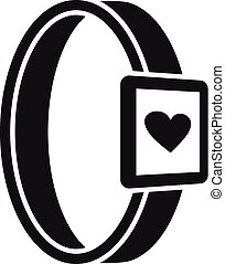 Smartwatch heart monitor icon, simple style