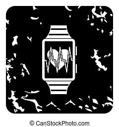 Smartwatch icon, grunge style