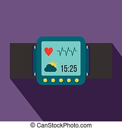Smartwatch icon in flat style