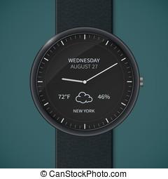 Smartwatch mockup - weather - Smart watch interface...