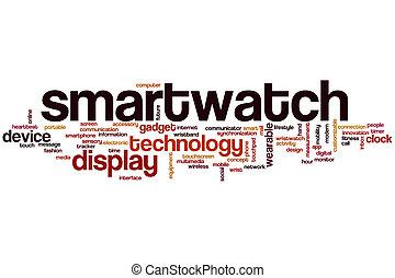 smartwatch, palabra, nube