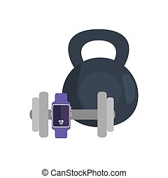 smartwatch sport with set of dumbbell equipment