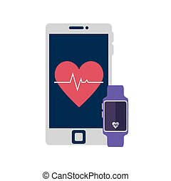 smartwatch sport with smartphone isolated icon