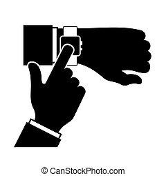 smartwatch., vector, silueta, brazo