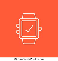 Smartwatch with check sign line icon.