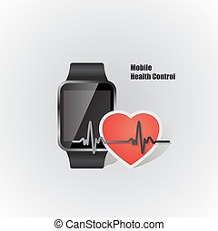 smartwatch with heart beat symbol