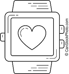 Smartwatch with heart line icon.