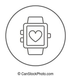 Smartwatch with heart sign line icon.