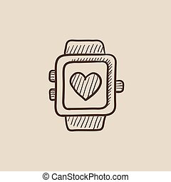 Smartwatch with heart sign sketch icon.