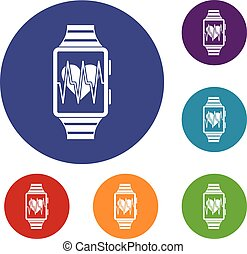 Smartwatch with sport app icons set