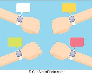 smartwatches, projection, bras, quatre, notifications, message blanc