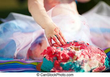smash cake - Cake smash aftermath. Baby pink two-tier...