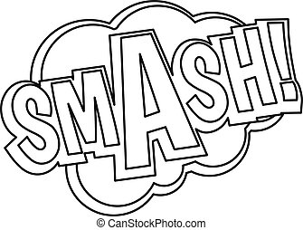 Smash, comic text sound effect icon, outline style - Smash,...