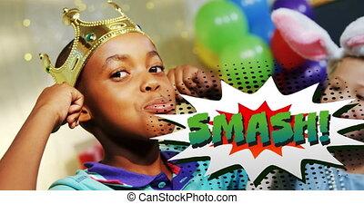 Smash text on speech bubble against boy wearing crown ...
